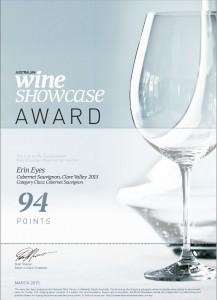 20150325 Australian Wine Showcase Award Erin Eyes Cabernet Sauvignon 2013