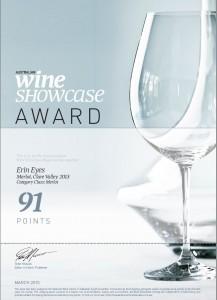 20150325 Australian Wine Showcase Award Erin Eyes Merlot 2013